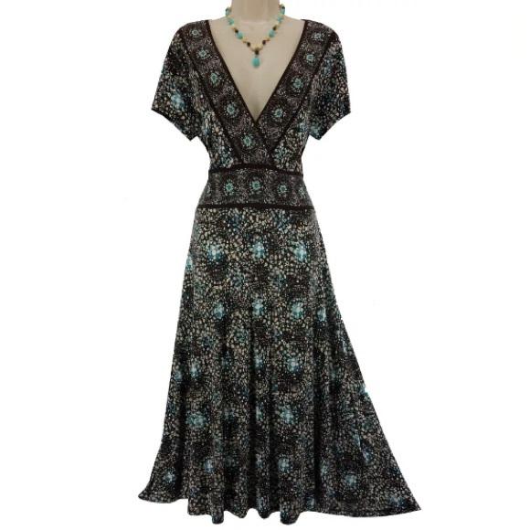 Charter Club Dresses 18w 2xchocolate Print Midimaxi Dress Plus